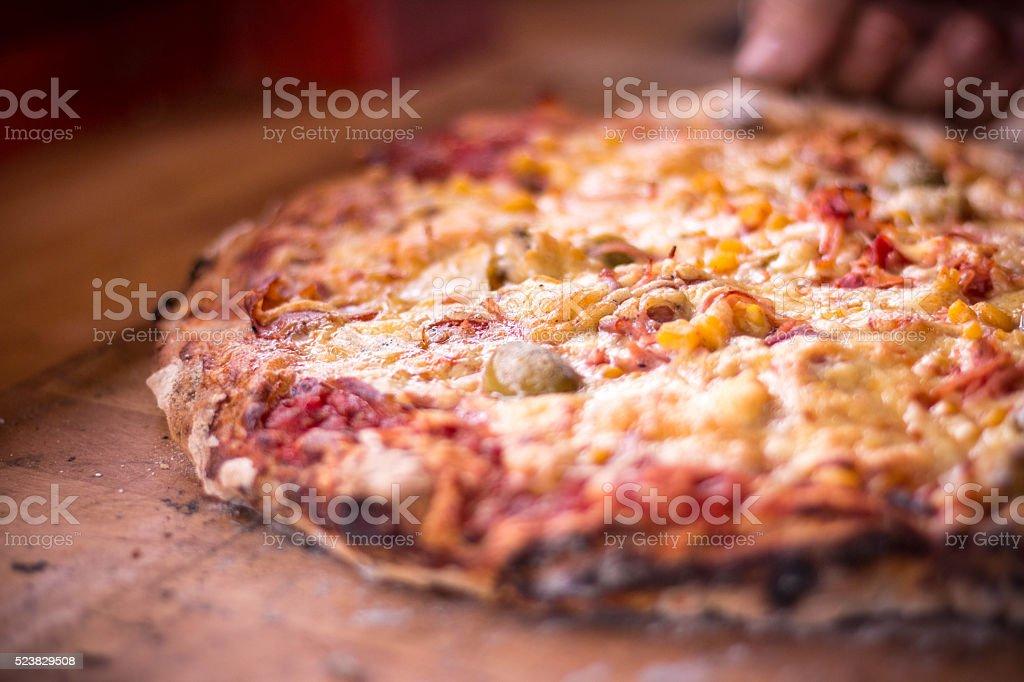 Preparing pizza at home stock photo