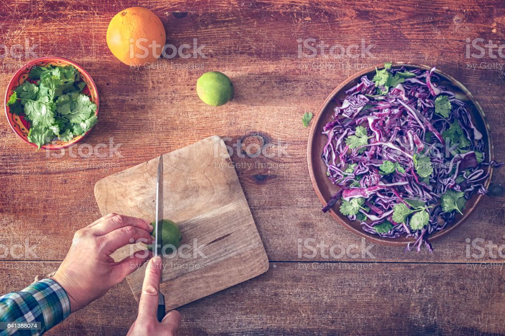 Preparing Red Cabbage Salad stock photo