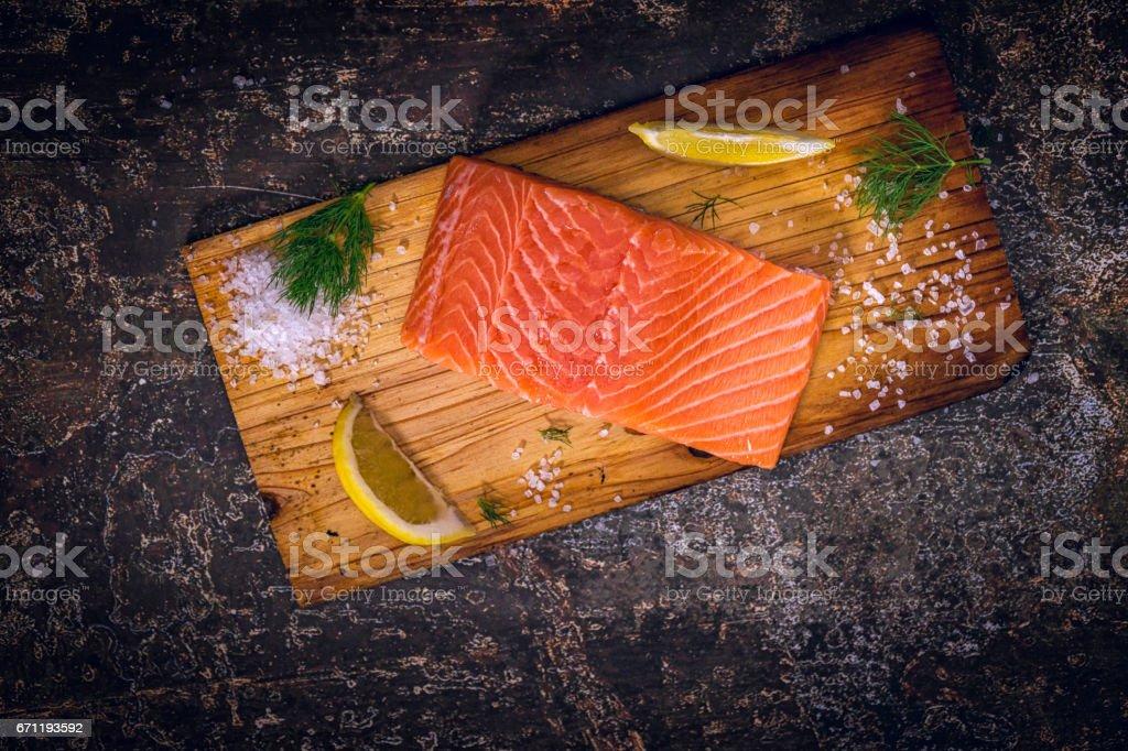 Preparing Salmon Fillet Dish stock photo