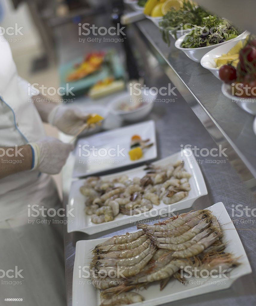 Preparing Shrimp stock photo