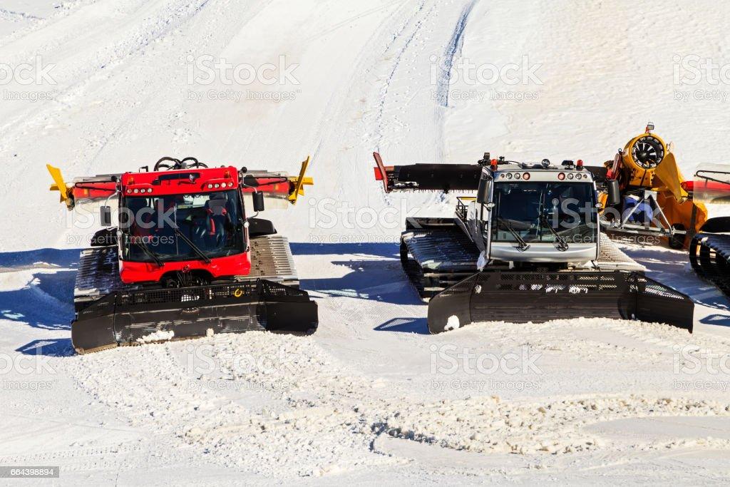 Preparing ski slope stock photo