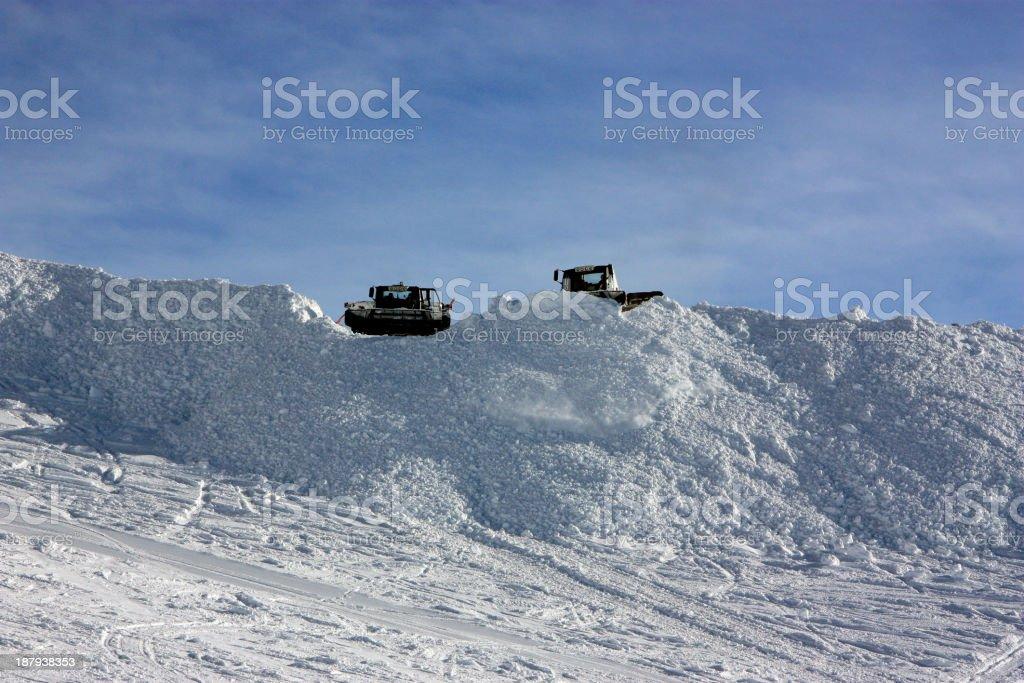 Preparing snow jumps snowcat stock photo