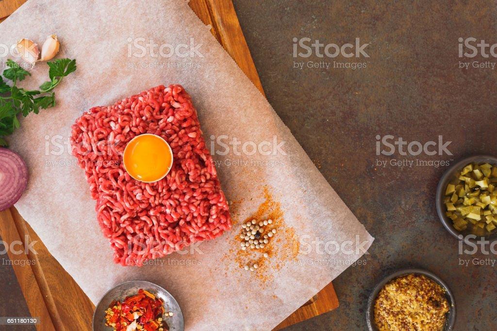 Preparing Steak Tartare stock photo