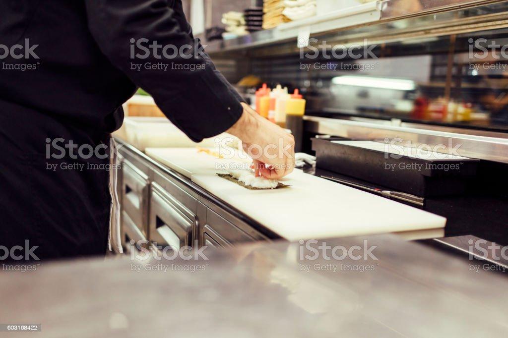 Preparing Sushi stock photo