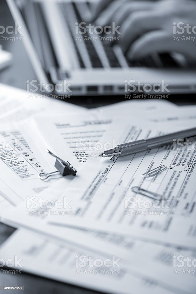Preparing Tax Forms stock photo