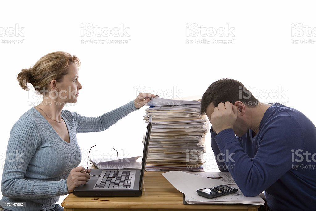 Preparing taxes in two different ways stock photo