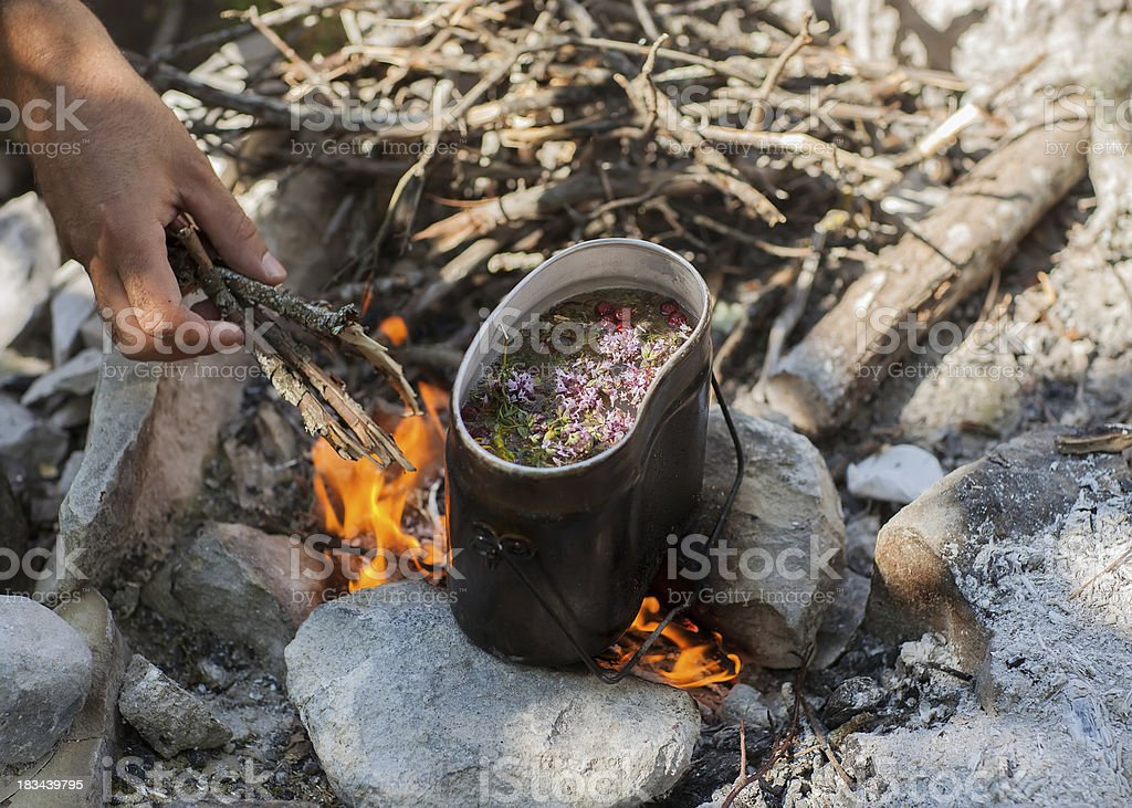 Preparing tea on campfire in wild camping. royalty-free stock photo