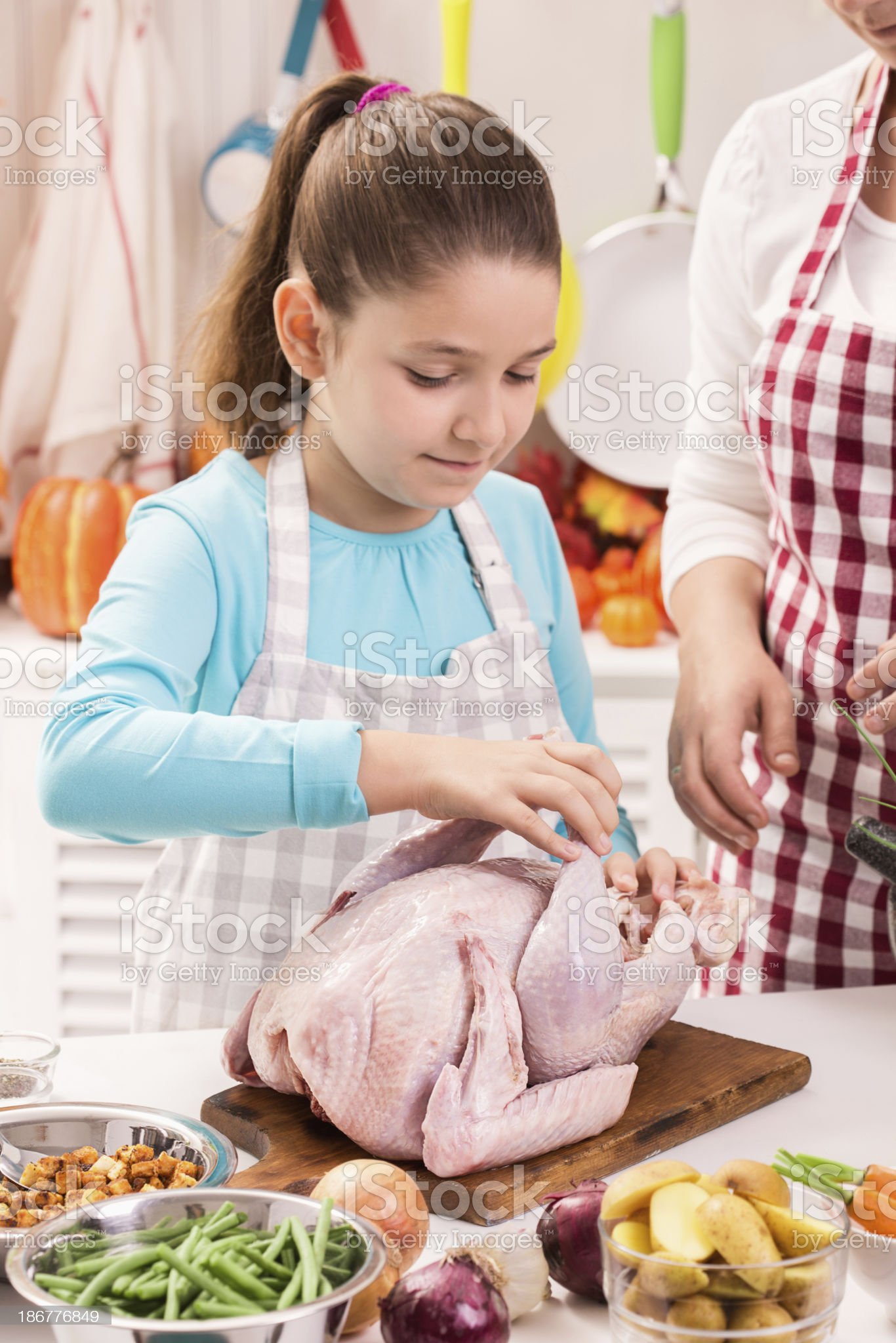 Preparing Thanksgiving Turkey for Holidays royalty-free stock photo