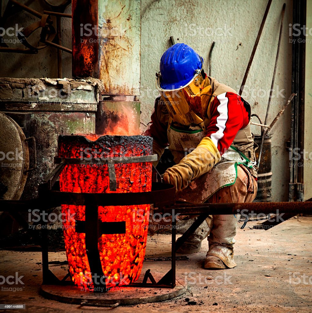 Preparing the bronze kettle for casting. stock photo