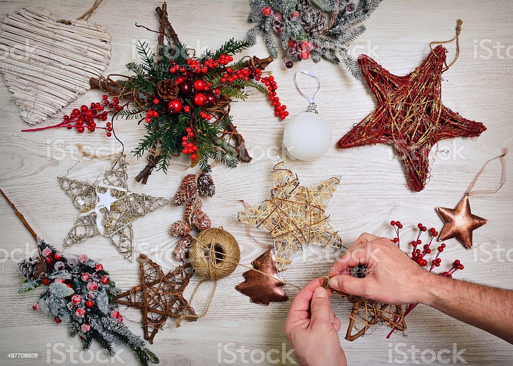 Preparing the Christmas decoration. stock photo
