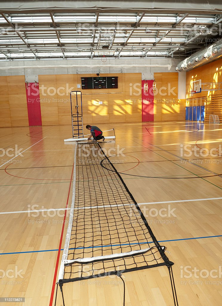 Preparing the Volleyball Net royalty-free stock photo