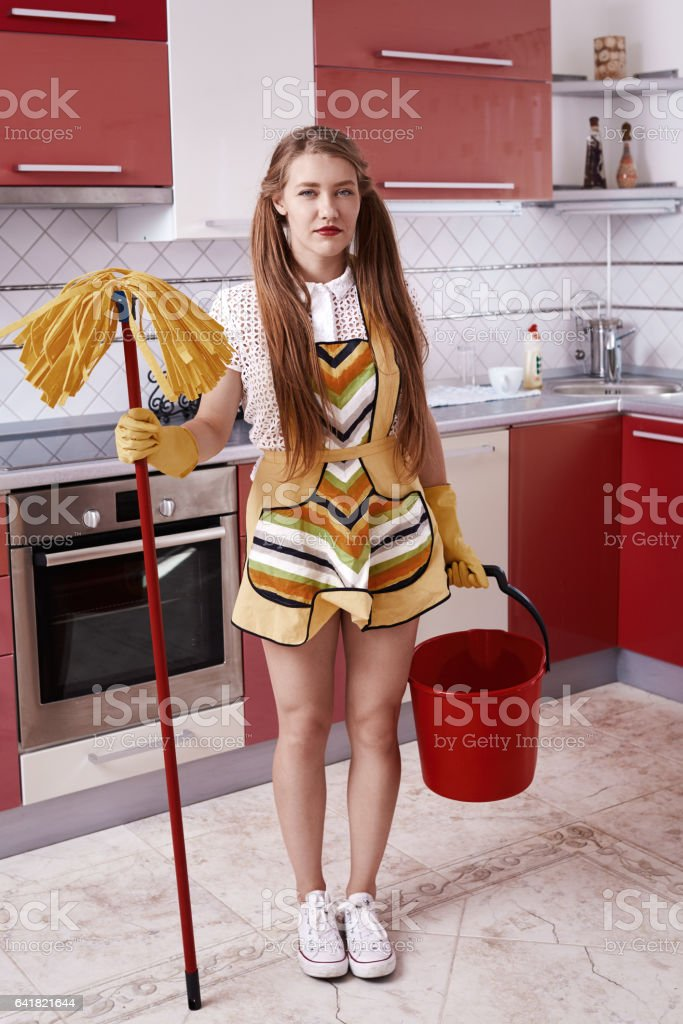 preparing to clean the house stock photo