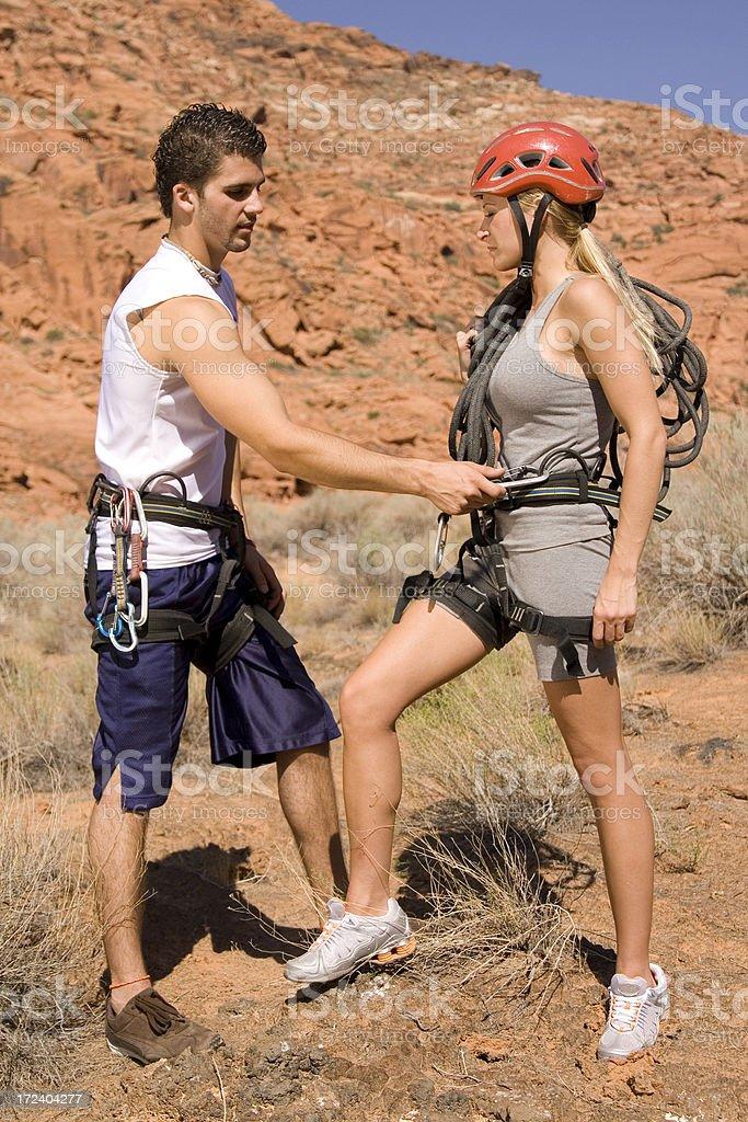 Preparing to Climb stock photo