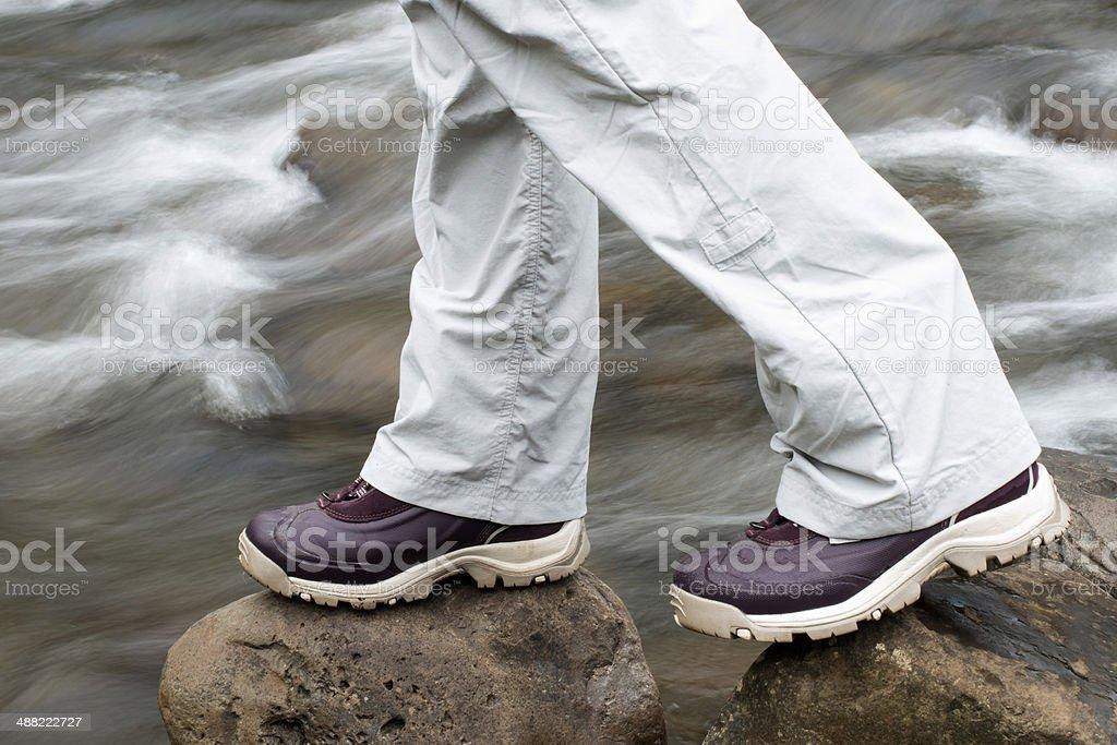 Preparing to cross the river stock photo