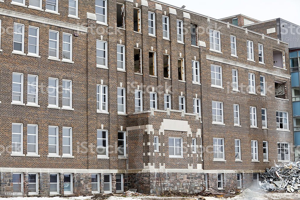 Preparing to Demolish a Building royalty-free stock photo