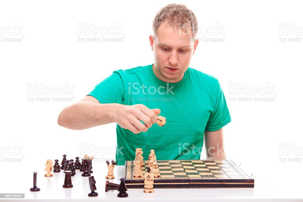 Preparing to play chess royalty-free stock photo