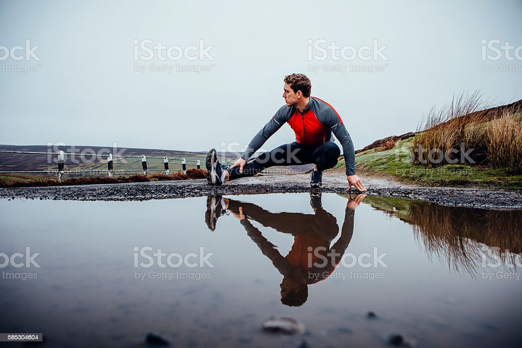 Preparing to run! stock photo