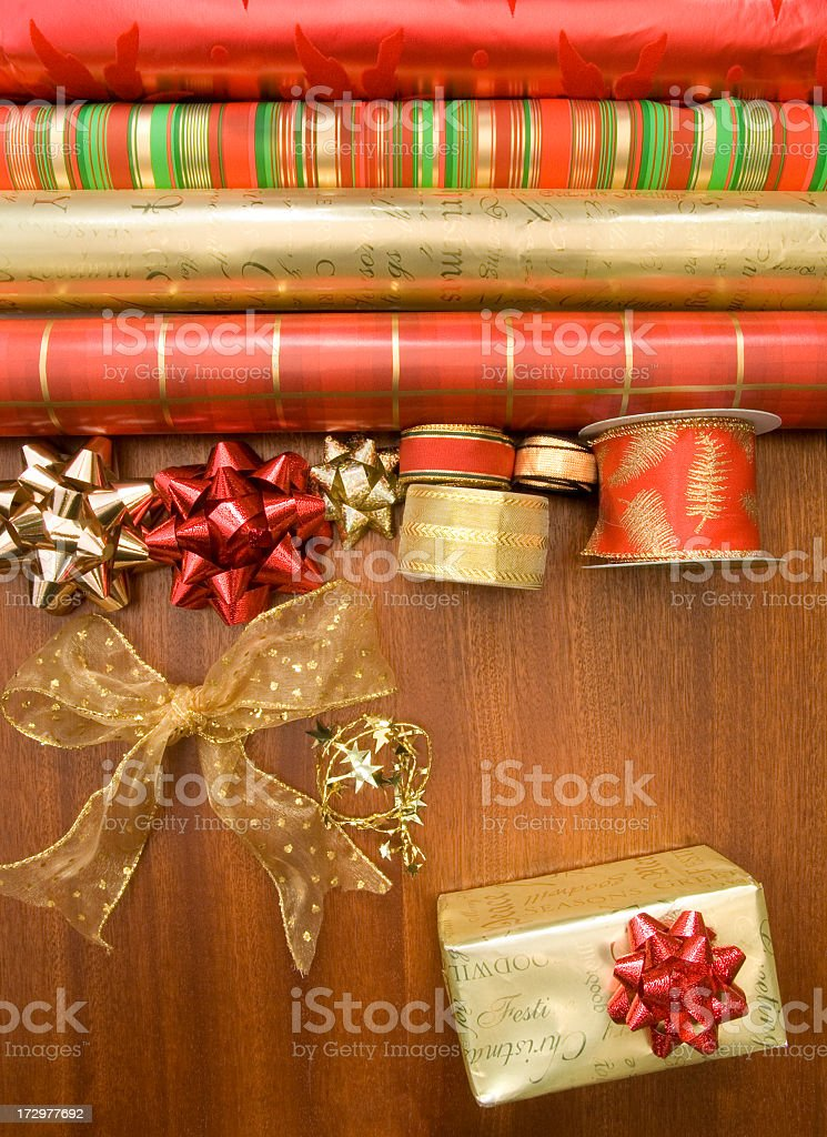 Preparing to wrap Christmas presents royalty-free stock photo