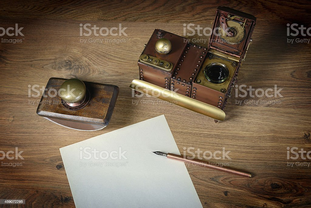 Preparing to write a letter. stock photo