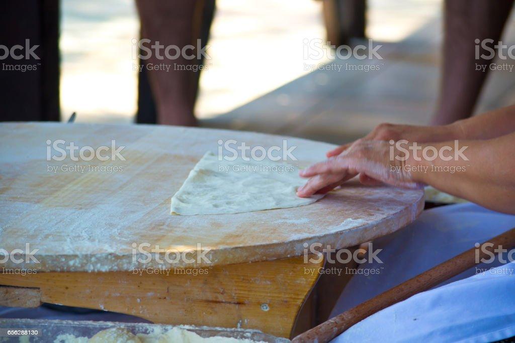 Preparing traditional arabic food stock photo
