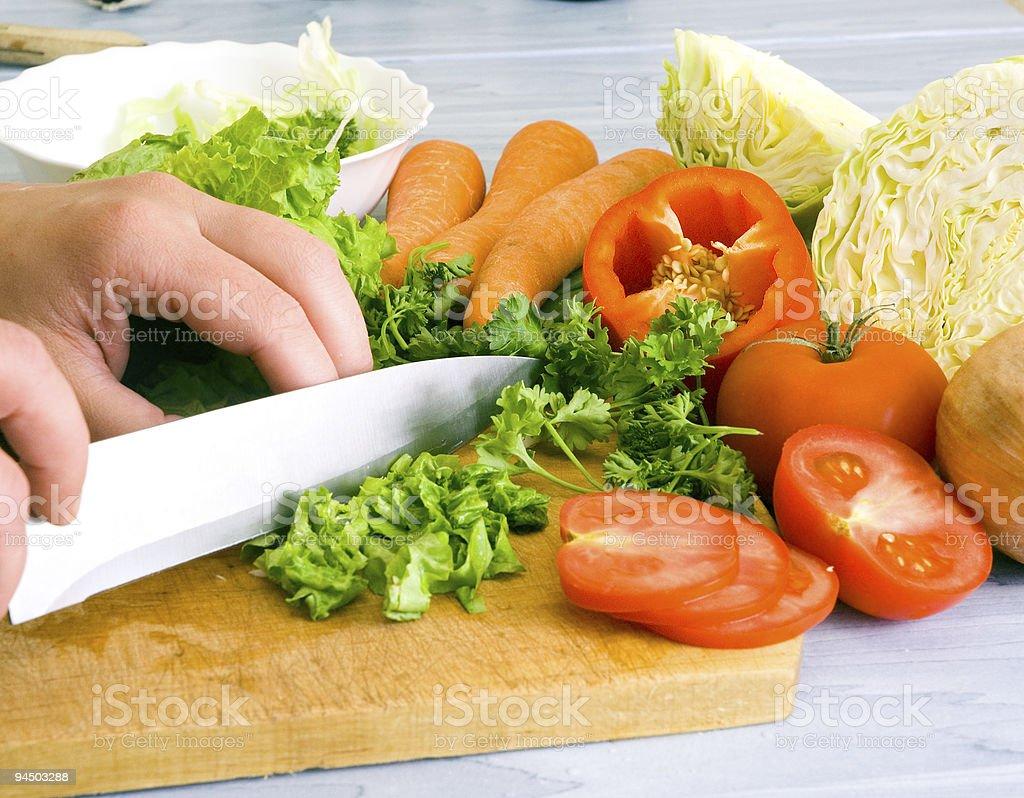 Preparing vegetable salad royalty-free stock photo