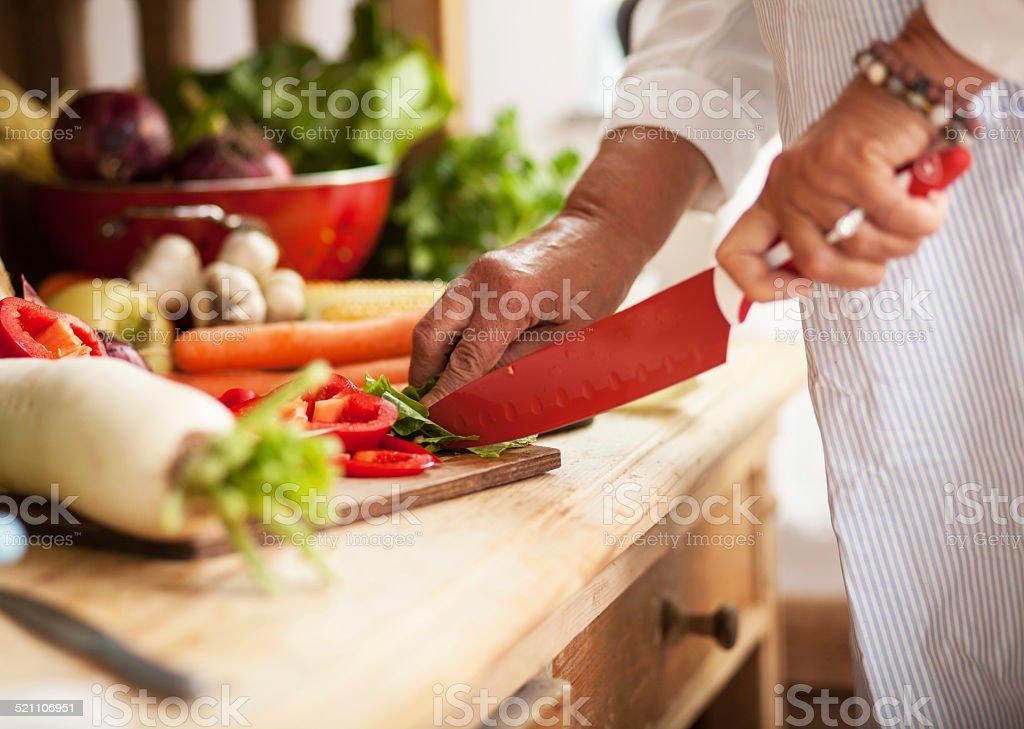 Preparing vegetables stock photo