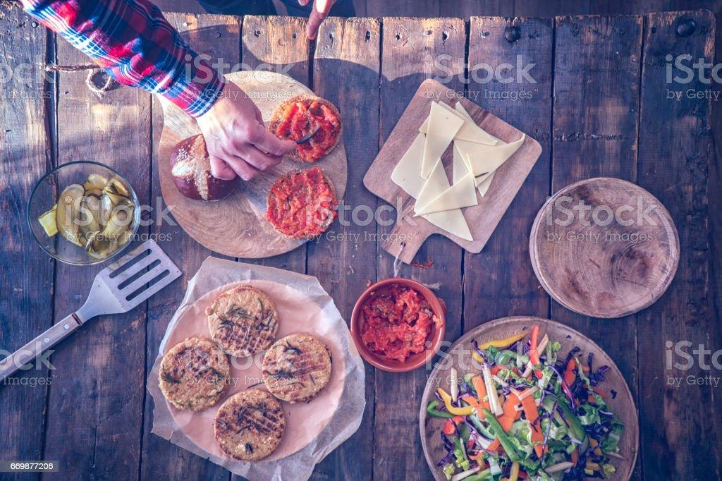 Preparing Vegetarian Tofu Burger stock photo