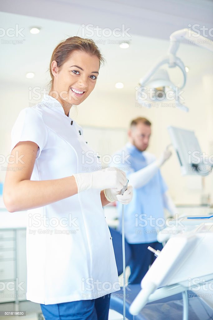 prepping the dentist surgery stock photo