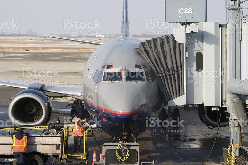 Prepping the Plane for Flight royalty-free stock photo