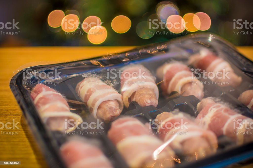 Pre-prepared Christmas Lunch - Pigs in Blankets stock photo