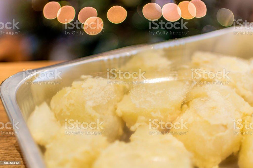Pre-prepared Christmas Lunch - Roast Potatoes stock photo