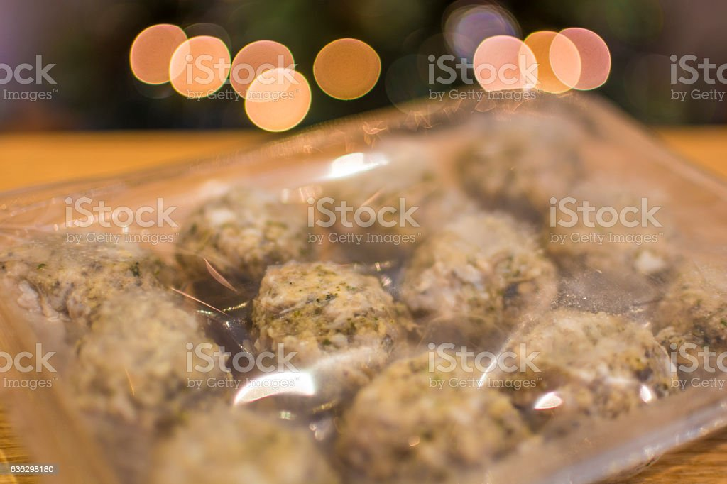 Pre-prepared Christmas Lunch - Stuffing Balls stock photo