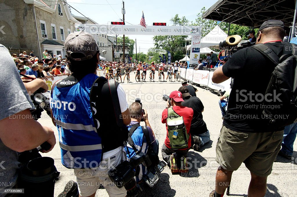Pre-race scene at Philadelphia International Cycling Classic stock photo