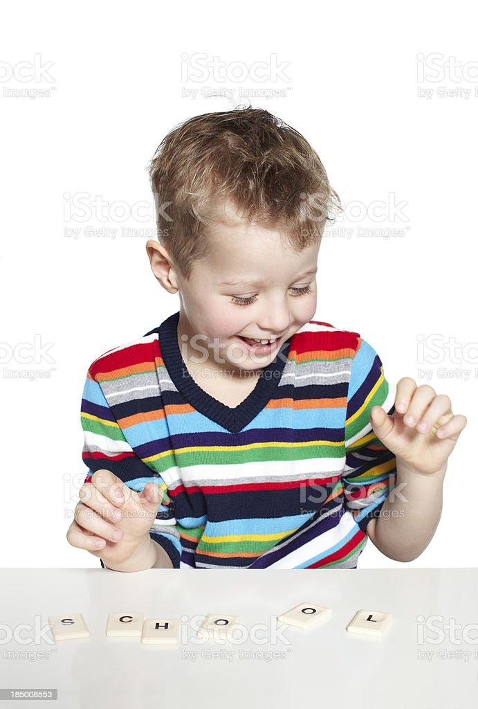 Preschool boy spelling school royalty-free stock photo
