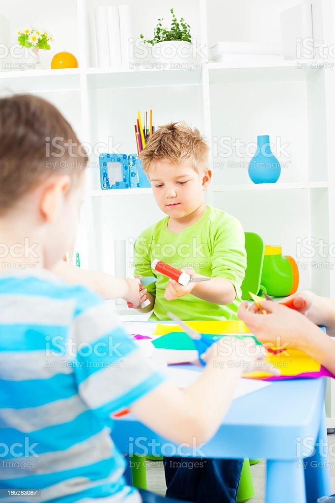 Preschool: Children Craft Activities. royalty-free stock photo