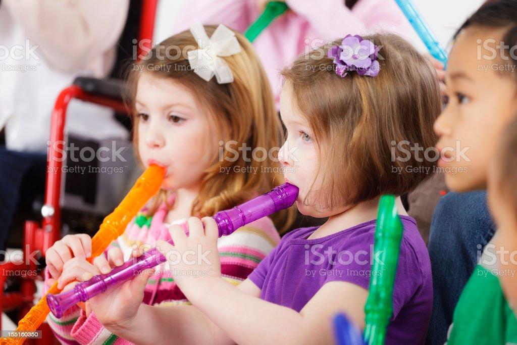 Preschool Children in a Music Class stock photo