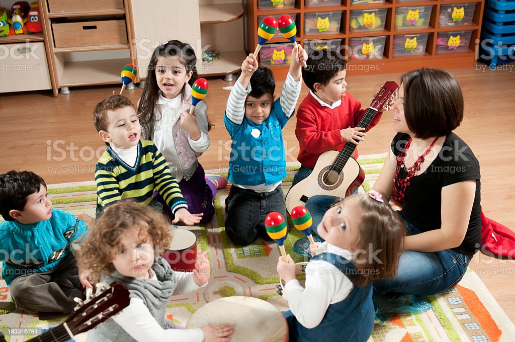 Preschool Children in a Music Class royalty-free stock photo