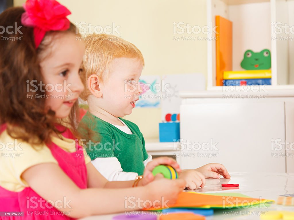 pre-school children in the classroom royalty-free stock photo