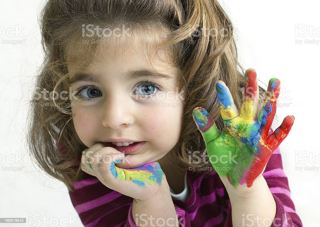 preschool girl waving hello/goodbye stock photo