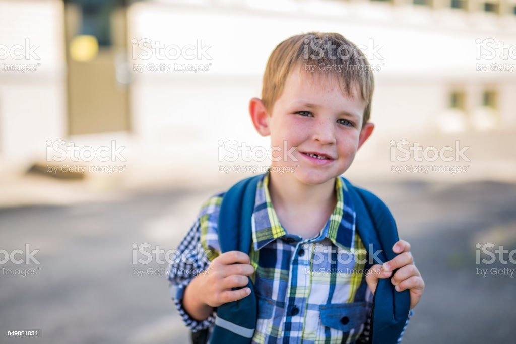 pre-school student going to school stock photo