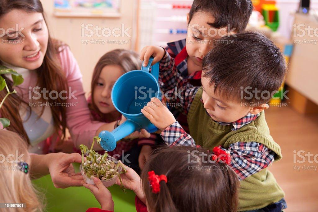 Preschooler and Teacher stock photo