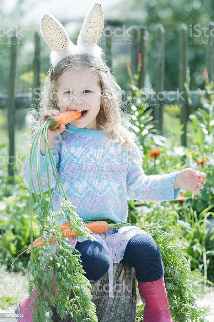 Preschooler blonde girl wearing Easter rabbit costume gnawing fresh carrot stock photo