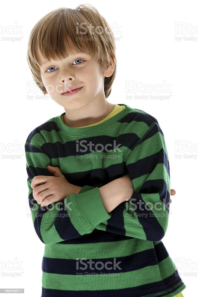 Preschooler on white background royalty-free stock photo
