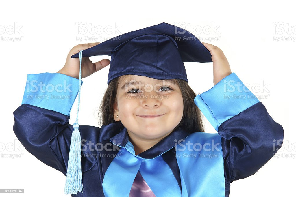 Preschooler wearing graduation gown royalty-free stock photo