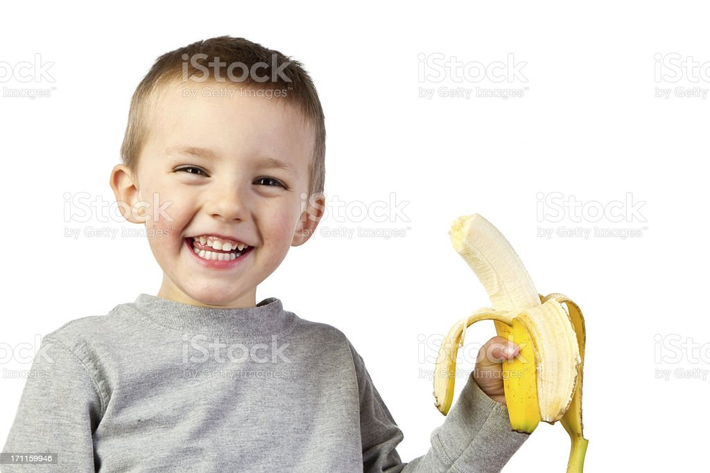 Preschooler with Banana royalty-free stock photo