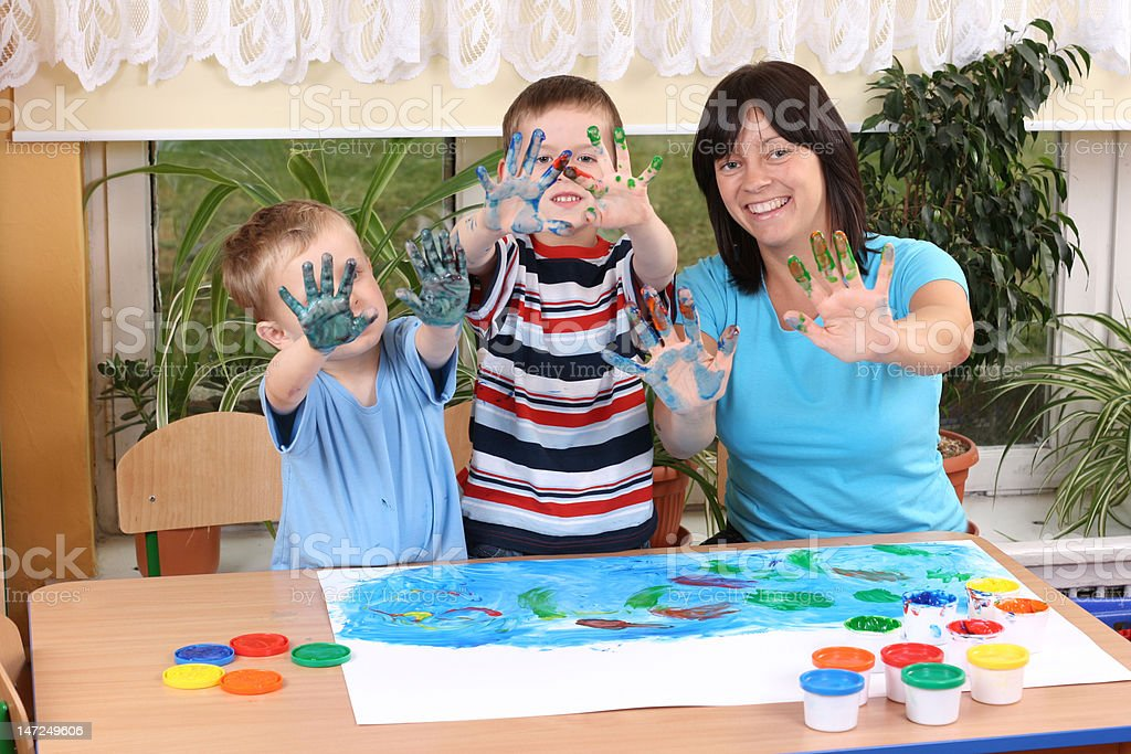 preschoolers and fingerpainting royalty-free stock photo