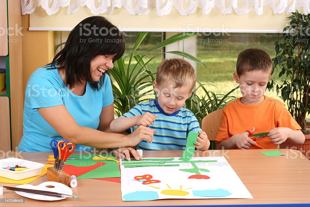 preschoolers and manual skills royalty-free stock photo