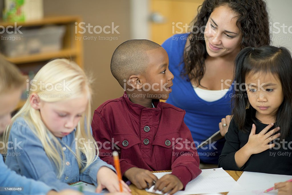 Pre-schoolers in classroom royalty-free stock photo