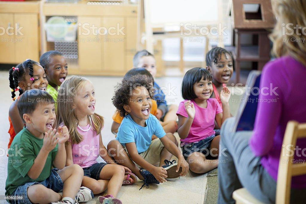 Pre-schoolers in classroom stock photo