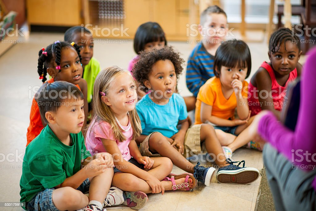 Pre-schoolers in classroom stock photo